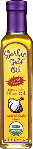 Premium Certified Organic Extra Virgin Olive Oil Infused with Garlic, Low FODMAP, Garlic Gold (8.44 fl oz)