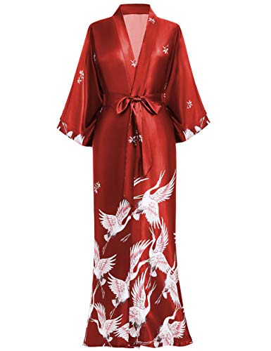 BABEYOND Damen Morgenmantel Kimono Kranich Gedruckt Maxi Lang Damen Bademantel Strandjacke Braut Junggesellinnenabschied Party Schlafmantel (Dunkelrot)