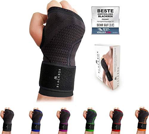 BLACKROX Handgelenk Bandage Fitness V2, für Frauen u. Männer, rechte oder Linke Hand, Handgelenkstütze, stabilisiert Handgelenkschoner, Wrist Wraps, Handgelenkbandage One Size (Schwarz)
