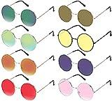 hakotom 8 pezzi occhiali da sole accessorio per costumi,montatura in metallo hippies lenti colorate stile vintage design retrò per feste di carnevale costume da ballo accessori moda