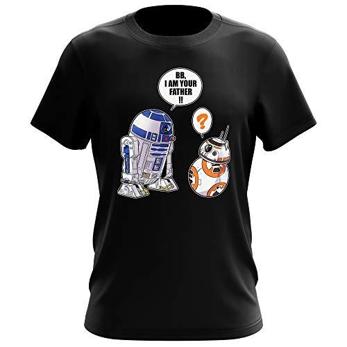 Star Wars Lustiges Schwarz T-Shirt - R2-D2 und BB-8 (Star Wars Parodie) (Ref:862)