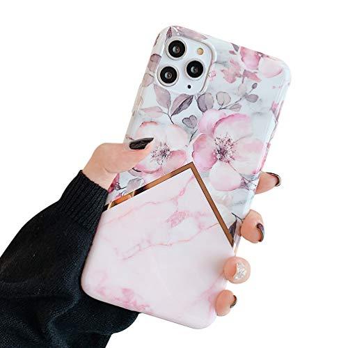 Oihxse Mode Nouveau Marbre Case Compatible pour iPhone Se 2020/iPhone 7/iPhone 8 Coque Motif Artistique Brillant Fleur Protection Housse Glitter Silicone Ultra-Mince Etui Anti-Scrach Bumper-Fleur 4