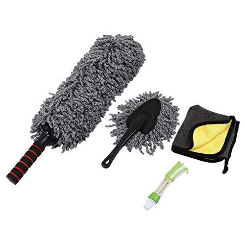 Haude Kit de plumero para coche, juego de 4, microfibra extensible, multiusos para polvo/limpieza de salpicadero/cepillo para detalles de coche, uso exterior o interior