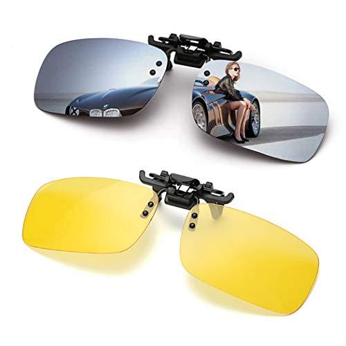偏光クリップオンサングラス クリップ サングラス クリップオン 釣り ドライブ アウトドア 自転車 バイクなどに (シルバー + 夜間専用)