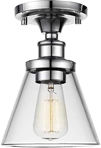 Luminaria de techo industrial - Chrome con embudo con tonos de vidrio transparente de embudo, vintage semi al ras de montura colgante iluminación - Lámpara de techo de la isla de la cocina, zócalo E27