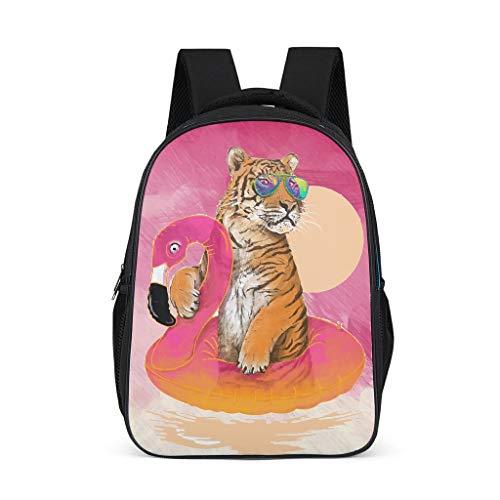 XHJQ88 Tiger & Flamingos Rucksack niedlich, schmal Schulranzen – Schwimmen Muster Druck Büchertaschen Bergsteigen Verwendung für Mädchen Einheitsgröße grau