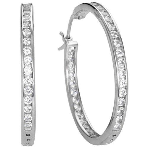 Basic Silber Damen Ohrringe SCR24 Creolen Ohrschmuck Sterling-Silber 925 Weiß Zirkonia
