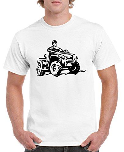 Comedy Shirts - Quad ATV - Herren T-Shirt - Weiss/Schwarz Gr. L
