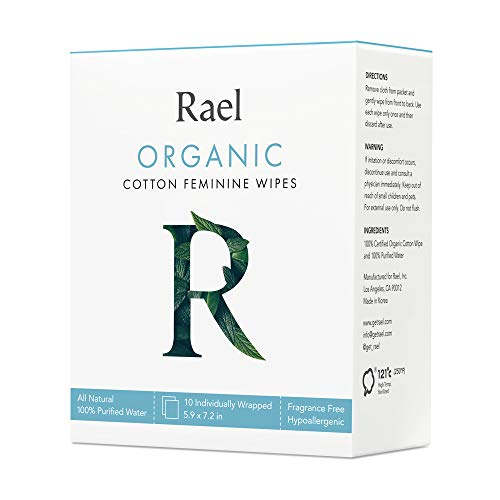 Rael Toallitas de algodón orgánico Rael - Agua purificada al 100%, algodón orgánico certificado por OCS, biodegradable, ideal para pieles sensibles, envueltas individualmente, (10 unidades)