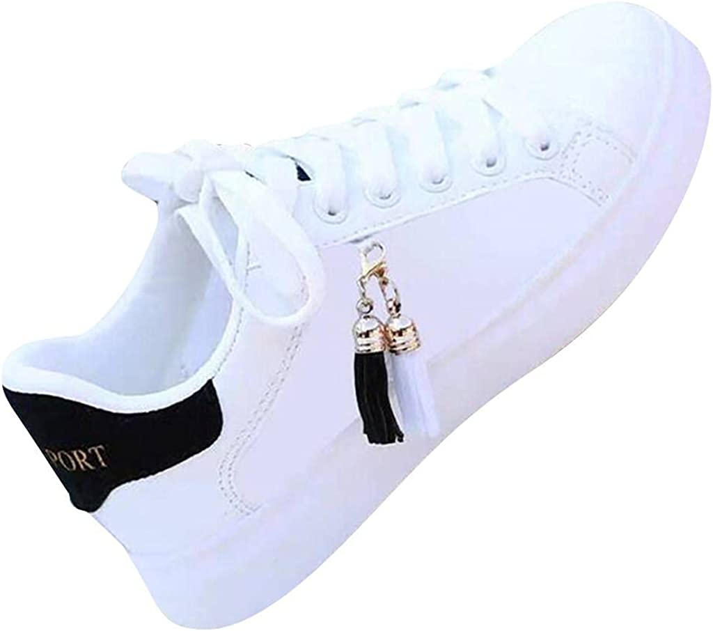 Hbeylia Leather Fashion Sneakers For Women Casual Lace Up Low Top Play Sneakers Platform Wedge Slip On Loafers Canvas Shoes Anti Slip Walking Running Shoes For Girls Work Nurse Outdoor Sports