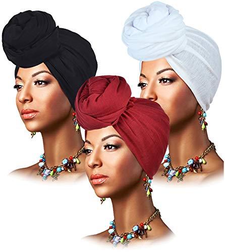 L'VOW 3 Pieces Stretch Head Wrap Scarf Soft Turban Headband Tie Long Hair Wraps Hijab Scarfs for Women(Black, White, Wine)