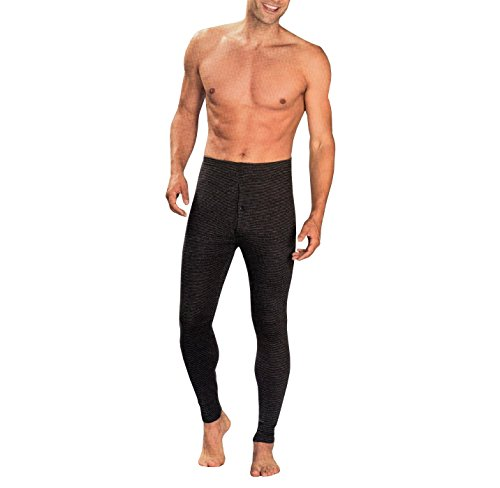 Herren Thermo Hose in schwarz-grau Größe M / 5 - Baumwollmischung - Textiles Vertrauen geprüft auf Schadstoffe nach Oeko-Tex(R) Standard 100 - Ski & Snowboard Unterwäsche Lange Buchse Unterhose