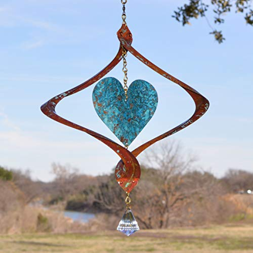 BreezeWay Helix Heart - Handmade Copper Wind Spinner