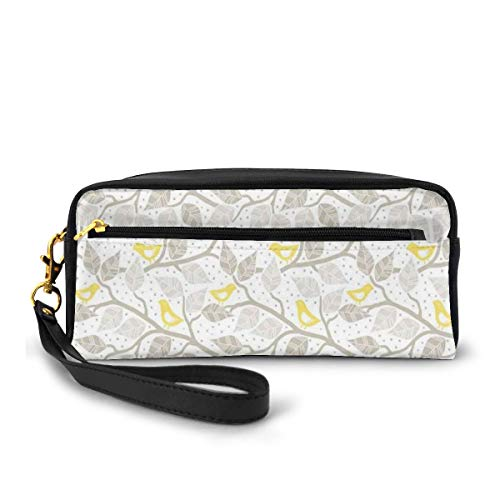 Pencil Case Pen Bag Pouch Stationary,Abstract Tree Branches with Leaves Birds and Dots Spring Nature,Small Makeup Bag Coin Purse