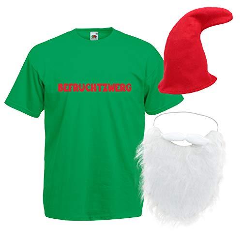 Shirt-Panda Herren T-Shirt · Befruchtzwerg mit Mütze und Bart Karneval Gruppen Zwerg Kostüm Fasching Verkleidung Party Gnom Darts Unisex Hut Kostüme · Grün (Druck Rot) Mütze & Bart 2XL