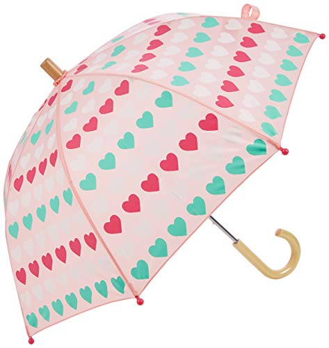 Hatley Mädchen Printed Umbrellas Regenschirm, Pink (Multicoloured Hearts 650), One size