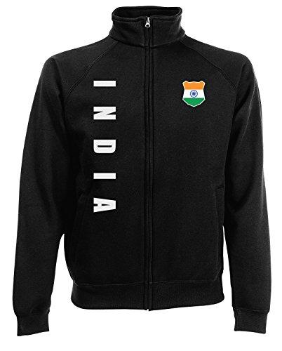 AkyTEX Indien India WM-2022 Sweatjacke Wunschname Nummer Schwarz XL