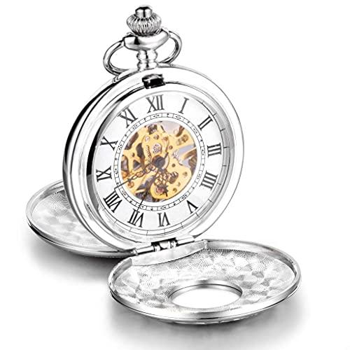 ZHAOJ Unendlich U Twin-Lids Esqueleto Números Romanos Reloj de Bolsillo mecánico Grande de Acero Collar Largo Plateado con Bolsa de Regalo para Hombres/Mujeres