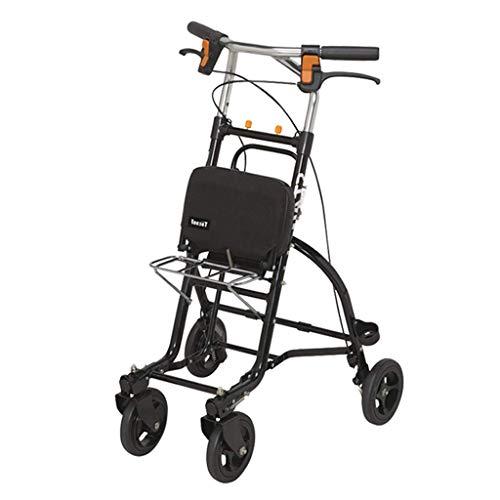 CAIyi Einkaufswagen Einkaufswagen Klapprollstuhl Taste Bremse Startseite Einkaufswagen mit Sitz Tragbarer Roller Geschenk kann 100 kg tragen,Schwarz,51,5 × 55,5 × 81,5–96,5 cm