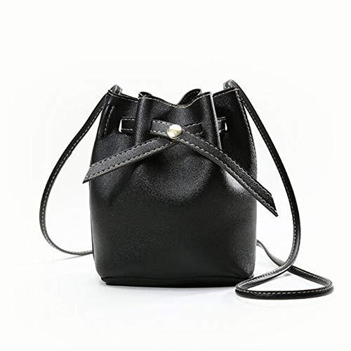 QiKun-Home Bolso de Mujer de Cuero PU de Moda con Estilo, Bolso de Mensajero Cruzado, Bolso de Cubo, Bolso de Viaje Informal de Todo fósforo, Tejido Liso Negro