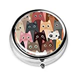 Cartoon Colorful Cats Metal Medicine Pill Box,Pocket Purse Portable Travel Pill Case with 3 Components