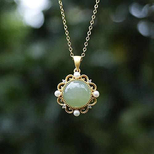 Collar delicado para mujer S de plata natural de jade hetiano jaspe collar redondo chino vintage tallada perla colgante de marca joyería de marca (color de gema: ámbar)