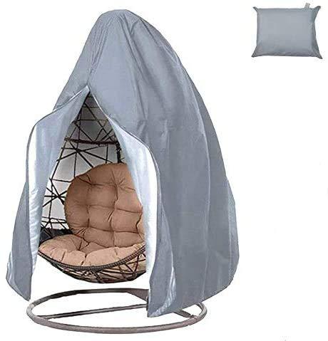 Copertura impermeabile per sedia a uovo 190 x 115 cm, con borsa portaoggetti, copri sedia a dondolo con cerniera e coulisse per sedia a dondolo, mobili in rattan (grigio)