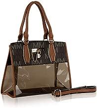 MKF Satchel Bag for Women – PU Leather & Clear Transparent Handbag Pocketbook Purse – Crossbody Shoulder Strap Brown