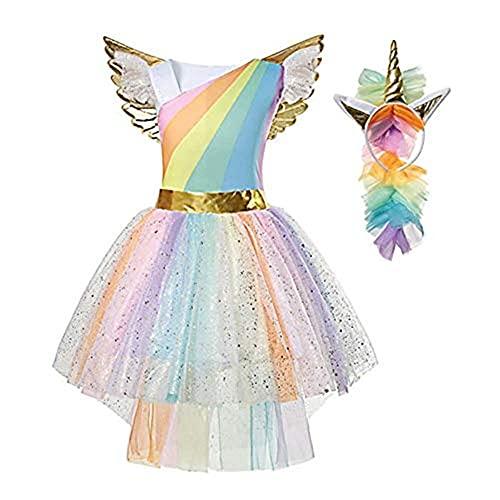 Pretty Princess Disfraz de Unicornio Vestido Princesa para Fiesta Carnaval de Niña 5-6 años (116 cm)