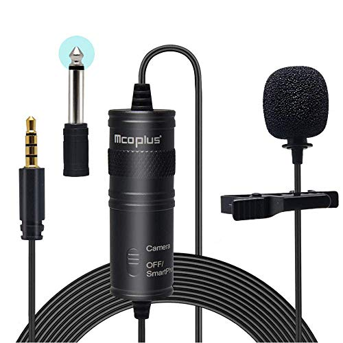 Mcoplus Professional Omnidirectional Lavalier Microphone LVD600 External 3.5mm Clip-On Lapel Mic for Smartphone DSLR Camera PC Interview Video Camcorders Audio Recorder Vlog