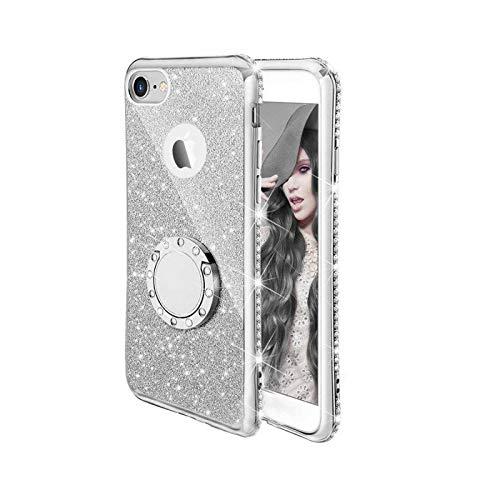 Luxury - Carcasa para iPhone 11 Pro XR X XS Max 7 8 6 Plus se 2 2020 12 Metal Ring Holder Soft Cover para iPhone 6 Plus