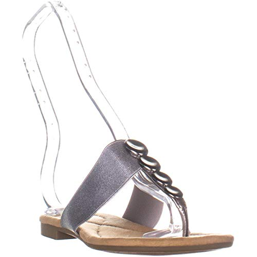 Alfani Womens Henii Split Toe Casual Slide Sandals, Pewter, Size 5.5 Silver