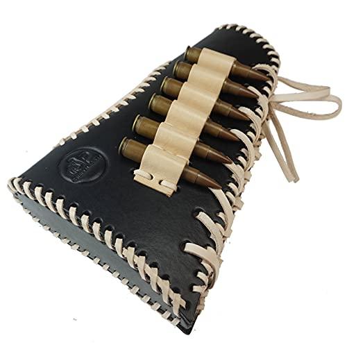 Tas Trost Genuine Leather Buttstock Ammo Holder Shell Pouch Cartridge Holder Rifle Hunting Cheek Rest Riser Pad Gun Protector (Black-Right Handed)