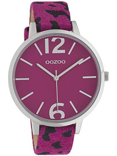 Oozoo Damenuhr mit Leopard Look Lederband Animal Print Colors of Africa 43 MM Pink Pink C10199