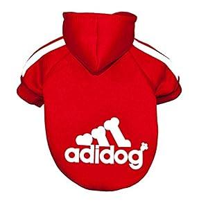 boutonnée Adidog Sweat à capuche, pour grand chien, Taille?: XL (5à 8XL) et couleurs?: (Noir et Rouge)