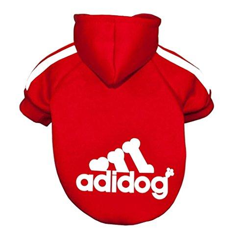 Adidog, Hundekleidung,für kleine und große Hund (S bis 8XL)Farbe : Schwarz / Rot (8XL=(Hals:51cm)(Brust:85cm)(Körperlänge):70cm, Rot)
