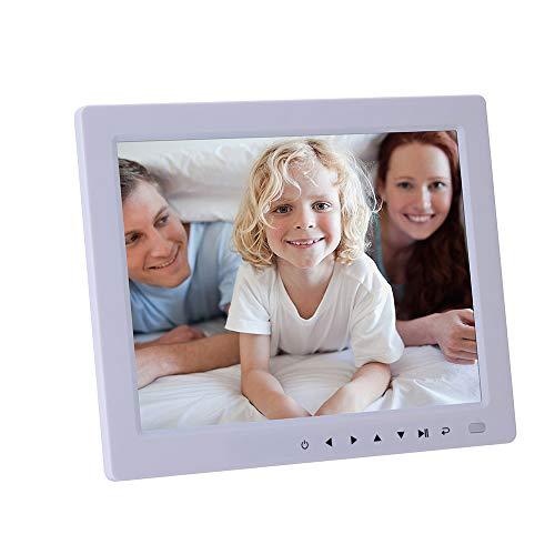 TLgf 10,4-Zoll-Digital-Bilderrahmen-HD-LED-Bilderrahmen für Videos, Unterstützung für MP3 / Kalender/Uhr/E-Book, Fernbedienung inklusive Funktion,White