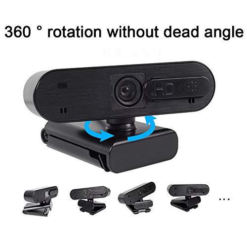 HHORD Webcam, Cámara De Computadora para Video Conferencia, Grabación Y Transmisión, Web CAM con 360 Grados Extendido Vista, HD Webcam para PC, Portátiles Y De Escritorio