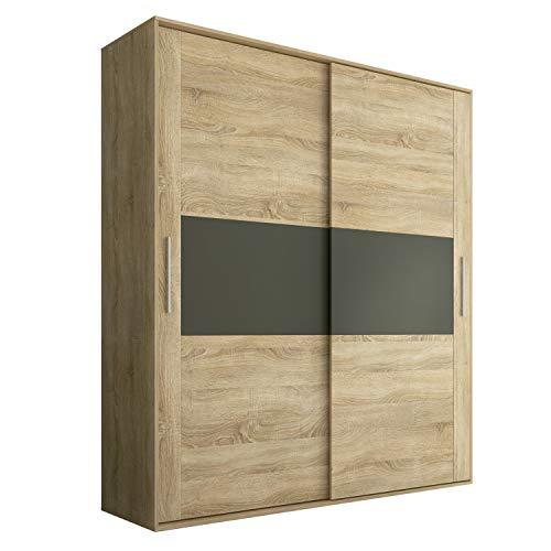 Armario 2 Puertas Correderas para Dormitorio y Habitación, Modelo Priego Acabado en Color Cambria y Grafito, Medidas: 180 cm (Largo) x 207,6 cm (Alto) x 55 cm (Fondo)