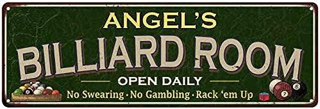 Chico Creek Signs Angel's Billiard Room Sign 6x18 Green Metal Game Room Gift Decor 106180106208
