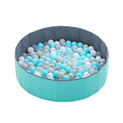 MSDFNSQ Piscina con bolas de juego para niños, piscina de bolas plegable redonda para familias, valla, apta para niños y niñas (verde)
