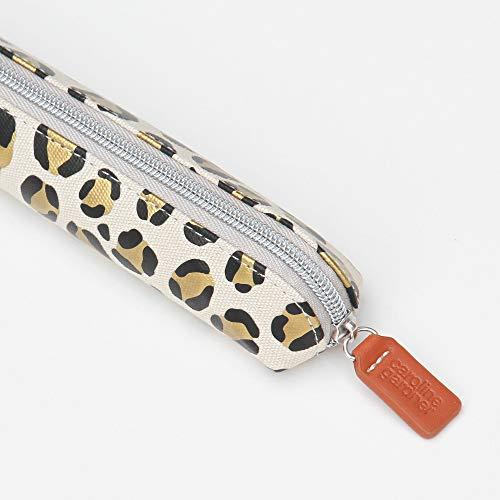 Caroline Gardner Schlankes Federmäppchen Gold Leopard