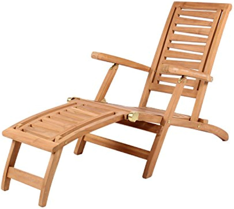 Mr. Deko Teak Deckchair Zickzack Teak - Bear Chair - Liegestuhl - Relaxliege - Gartenliege - Outdoormbel - Teakholz - für Balkon, Terrasse, Wintergarten, Garten