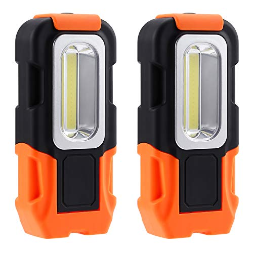 TORCHSTAR Portable LED Work Light, Hanging Hook & Magnetic Flashlight, Battery Operated, COB Pocket Work Light for Car Repairing, Emergency, Hiking, Camping, Pack of 2
