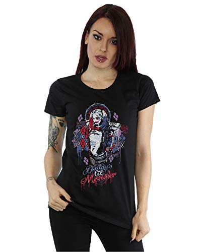 Suicide Squad Damen Harley Quinn Daddy's Lil Monster T-Shirt Medium Schwarz