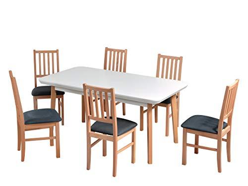 Mirjan24 Esstisch mit 6 Stühlen DM33, Sitzgruppe, Küchentisch, Esstischgruppe, Esszimmer Set, Esstisch Stuhlset, Esszimmergarnitur, DMXZ (Weiß Natürliche Buche/Natürliche Buche Malmo New 95)