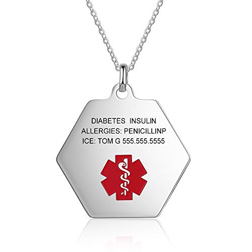 Personalisierte Notfall Anhänger Kette Halskette, Edelstahl Typ-1 Diabetes Medical Alert Dog Tag Personalisierte Medizinische Herren Chains Gravur Geschenk für Vatertag (silber)