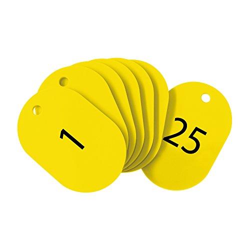 オープン工業 番号札 小 黄 25枚 1-25番 セット BF-70-YE