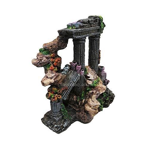 LOOPIG Ancient Greek Temple Ruins Roman Tower Fish Tank Aquarium Ornament Decorations
