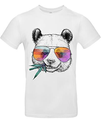 Smilo & Bron Herren T-Shirt mit Motiv Cool Panda Bedruckt Weiß White L